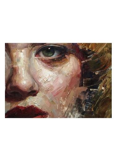MarkaEv Canvas Yağlı Boya Görünümlü Kadın Portre Tablo 0076 Renkli